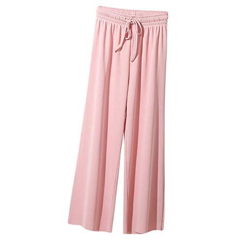 Eaktool Casual Pajama Pant,Fashion Women Leisure High Waist Trousers Loose Pants Pure Color Ninth Pants
