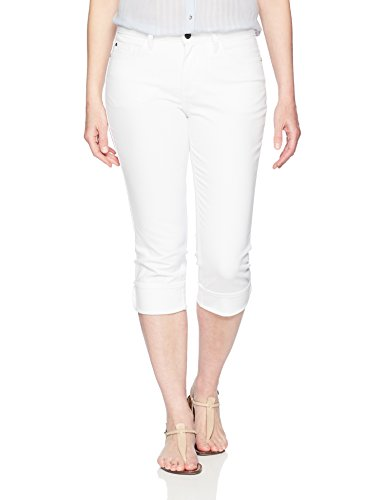 (Riders by Lee Indigo Women's Rolled Cuff Midrise Denim Capri, White, 10 AVG)