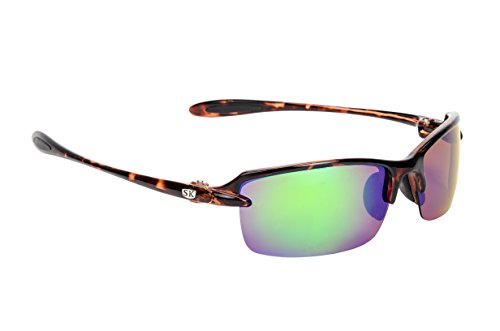 (Strike King Plus Sabine Polarized Sunglasses, Shiny Tortoise Shell Frame/Green Mirror Gray Base Lens)