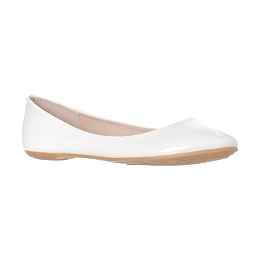 Riverberry Womens Aria Basic Chiuso Punta Rotonda Balletto Slip On Scarpa Brevetto Bianco