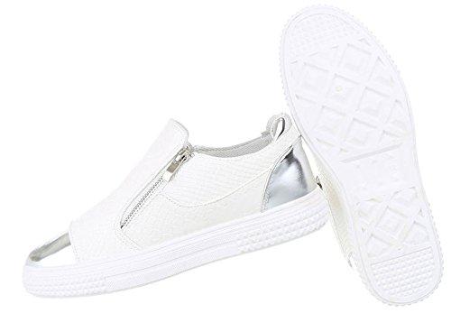 Damen Sneakers Muster | Plateau Sneaker Low | Schnürschuhe Stern | Turnschuhe modern | Sportschuhe Freizeit | Plateauschuhe Stern | Schnürer Stoffschuhe | Schuhcity24 Weiß