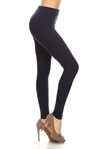 - 31EZk1OVpjL - Leggings Depot Women's Premium Quality Ultra Soft Cotton Spandex Solid Leggings (Navy, Medium)