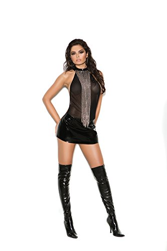 Zabeanco Women's Vinyl and Mesh Halter Neck Looped Chain Mini Dress ()