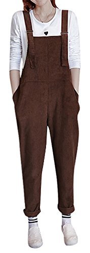 Hibukk Women Solid Color TAPERING Comfy Pocketed Corduroy Maternity Overalls, Brown (Corduroy Maternity Pants)