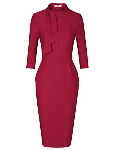 MUXXN Lady Fashion 50s Crew Neck Tie Bowknot Sheath Waist Special Occasion Dress (Burgundy ()