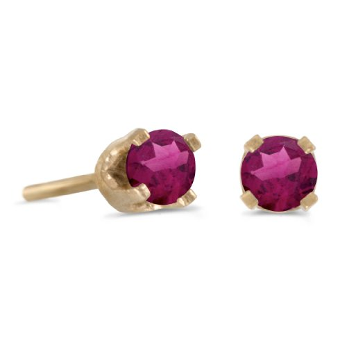 - 3 mm Petite Round Rhodolite Garnet Stud Earrings in 14k Yellow Gold