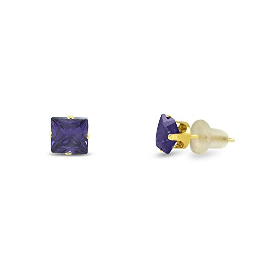 CZ 3x3mm Square Princess Cut Purple Amethyst Solid 10K Yellow Gold 4-Prong Set Stud Earrings