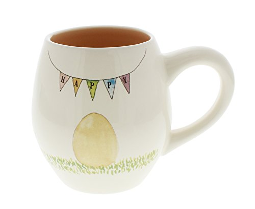Rae Dunn by Magenta Happy Easter Chick Coffee Mug Peach Interior