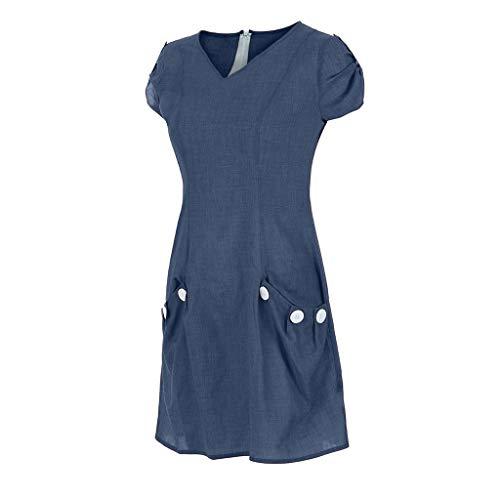 Sagton Plus Size Dresses for Women Ruffled Pockets O-Neck Shift Daily Buttoned-Decor Dresses (Blue,M)