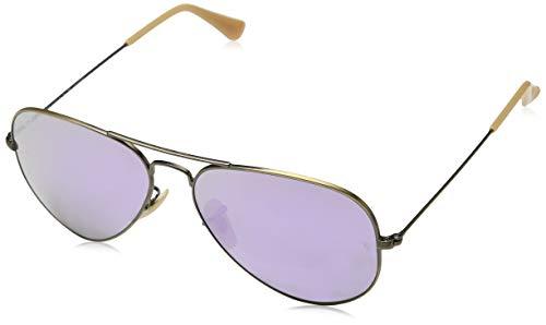 Ray-Ban Unisex-Adult Aviator Large Metal Non-Polarized Aviator Sunglasses, Brushed Bronze Demishiny, 58 ()