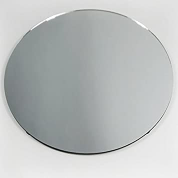 Homeford Firefly Imports Round Mirror Base Centerpiece, 18-Inch, Clear