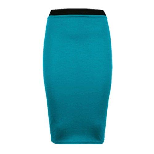 vert mi crayon femme Pour Runway Bleu moulante extensible bureau pour unie Splash longue jupe wHOY41q