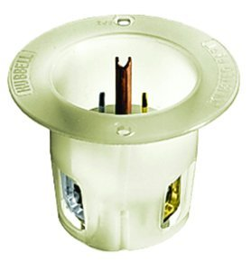 20A 250V 6-20P White INSULGRIPÂ Series Flanged Inlet, (Package of 10)