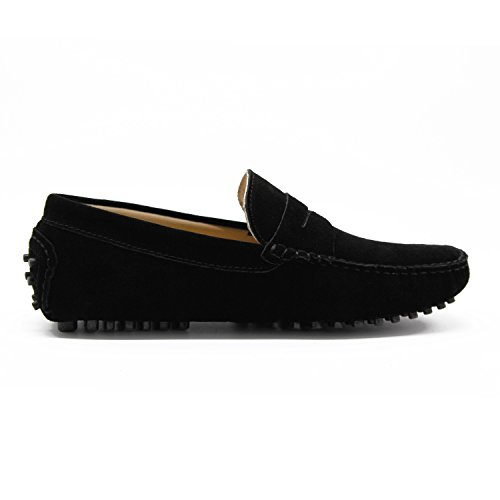 Suede Flats Black Ons Loafers Men's Slip R1v5ww