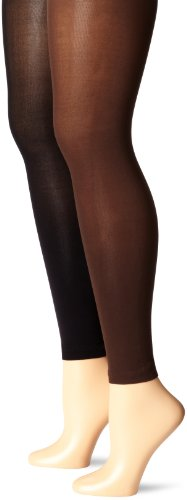 Muk Luks Women's Footless Tights 2 Pair Pack, Brown, Medium ()
