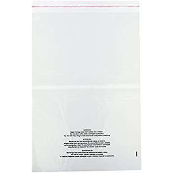 PaknSeal 9 X 12 Self Seal Poly Bags with Suffocation Warning Strong Adhesive Clear Strip 1.5 Mil 200 Count