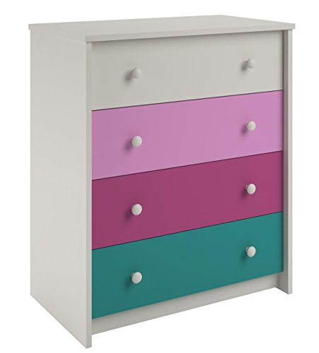 Cosco Kaleidoscope 4-Drawer Bedroom Chest, White/Pink/Raspberry/Blue by Cosco
