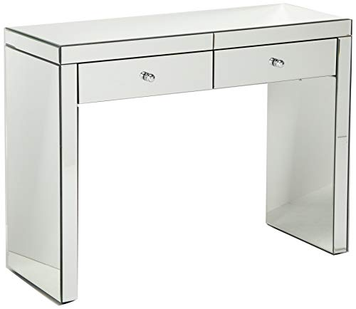 Great Deal Furniture 295463 Jacinda Mirrored 2-Drawer Console Table,