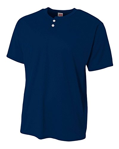 A4 Sportswear Youth Navy Large 2-Button Mesh (Blank) Henley Uniform Jersey Top
