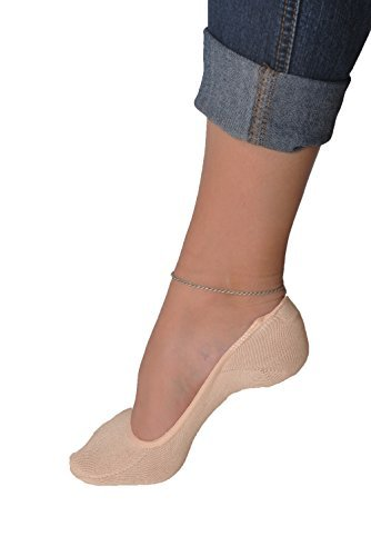 Trouser Liner - Women's 3 Pairs Truly No Show Liner Socks ~ Low Cut Invisible Anti Slip Socks ~ For Flats And Loafers By Juccini (Beige)