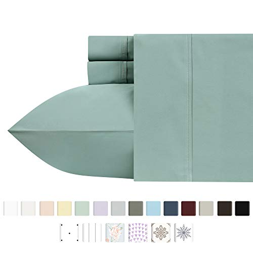 (Premium 400-Thread-Count 100% Natural Cotton Sheets - 4-Piece Green Sage Queen Size Sheet Set Long-Staple Combed Cotton Bed Sheets for Bed Sateen Weave Sheets Set Fits Mattress Upto 18'' Deep Pocket)