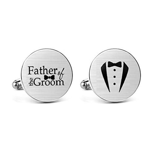 MUEEU Engraved Cufflinks Father of The Groom Wedding Gift for Father Dad Stepfather Box Include (Silver Sterling Square Brown Cufflinks)