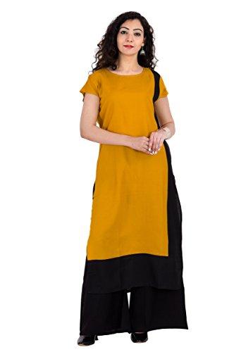 Yellow Kurti Kurta for Women Fashion Kurti Straight fit Kurta Top Tunic Party Dress Designer Rayon Mustard, by BrightJet