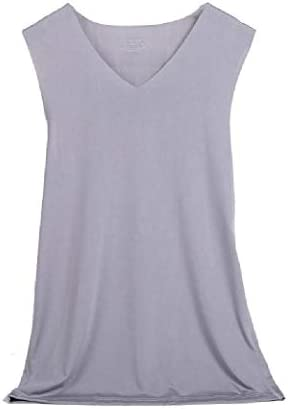 Mens Seamless V Neck Simple Sleeveless Stretch Solid Colored Tank A-Shirt
