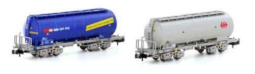 H23483 (N)SBB Silowagen 2両セット(青/灰) B07JJF8NY8