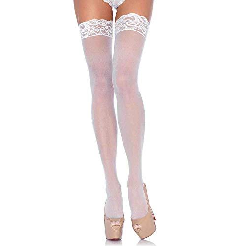 Nylon Leg Avenue Panties - Leg Avenue Women's Plus Size Sheer Thigh High Stockings with Lace Top, White