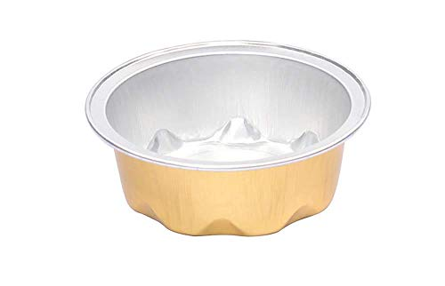 KitchenDance Colored Disposable Aluminum 2 Ounce Fluted Cups- Lid and Color Options- #A3 (Gold Without Lids, 100)