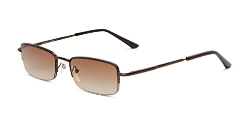 Readers.com | The Cinder Reading Sunglasses +1.25 Bronze with Amber Rectangle Stylish Men's & Women's Semi-Rimless