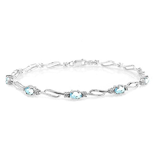 ALARRI 3.39 Carat 14K Solid White Gold Fair Share Aquamarine Diamond Bracelet Size 7 Inch Length by ALARRI