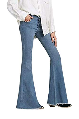 vas Cloche Pantalon Pantalon Femmes Jeans Botton Denim Vepodrau Casual Bleu qOB1x