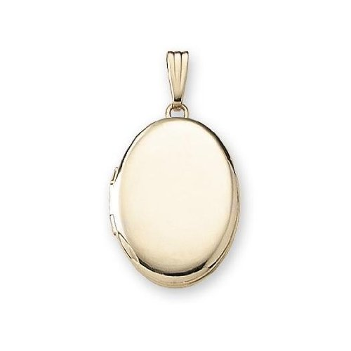 d Oval Locket - 3/4 Inch X 1 Inch in Solid 14K Yellow Gold (Gold Oval Cross Locket)