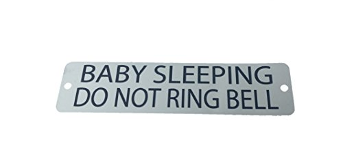 Baby Sleeping Do Not Ring Bell Metal Sign - Etched Stainless Steel - with screws and magnetic - 5.7 x 1.5 inches