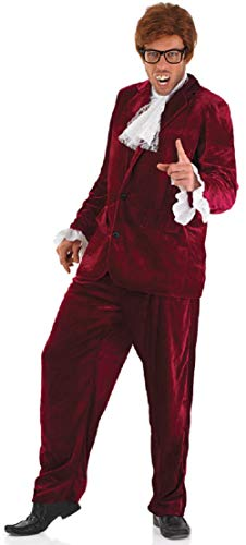 (Mens Red 1960s Austin Powers Spy Gigolo 60s Suit Film Fancy Dress Costume Outfit (Extra)