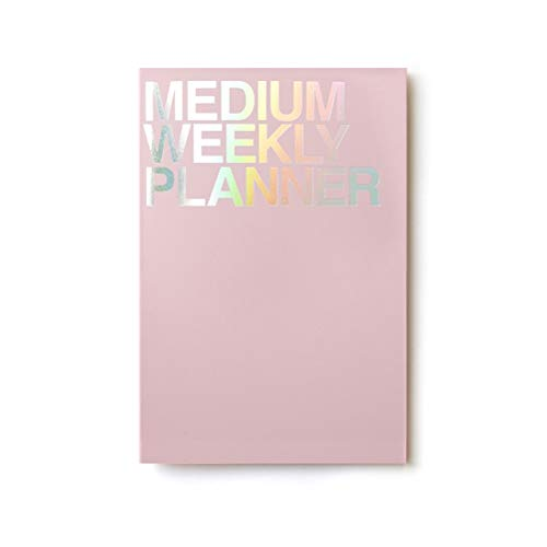 JSTORY Medium Weekly Planner Lays Flat Undated Year Round Flexible Cover Goal/Time Organizer Thick Paper Eco Friendly Customizable Stitch Bound A5 54 Weeks 100 GSM 28 Sheets Pink