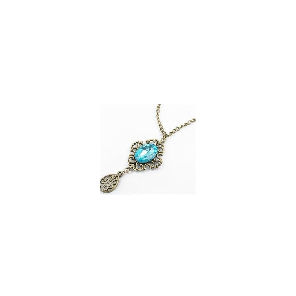 Boho vintage antique style bronze art deco blue crystal long necklace jewelry