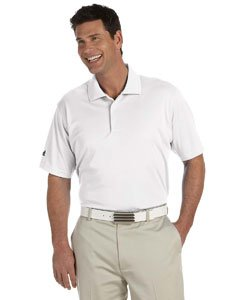 adidas A130 Mens ClimaLite Basic Polo - White, XL Basic Mens Polo Shirt