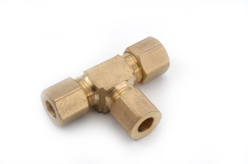 Anderson Metals 00064 Brass Compression Tube Fitting, Tee, 1/8