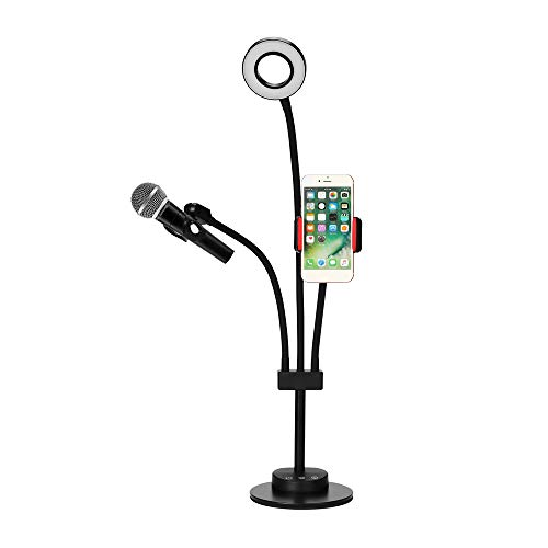 Andoer Lazy Bracket Phone Stand with Selfie Ring Light and Microphone Holder,Cell Phone Holder with 3 Color and Mult-Level Brigh for Live Stream