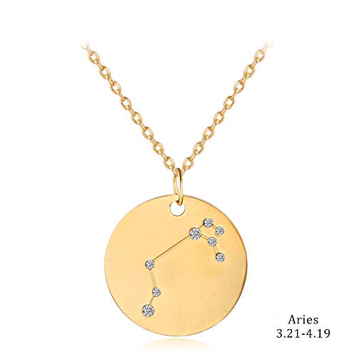 (liujun Zodiac Necklace Stainless Steel Lucky Charm, Crystal Coin Personalized Necklace Jewelry, Golden Necklace, Gifts for Women Men (Aires))