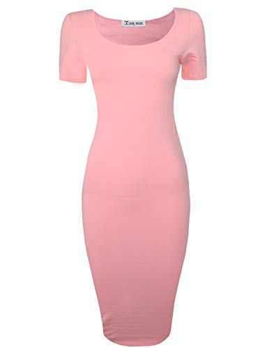 TAM WARE Women's Sweetheart Short Sleeve Midi Dress TWCWD053-D065-PINK-US XXL