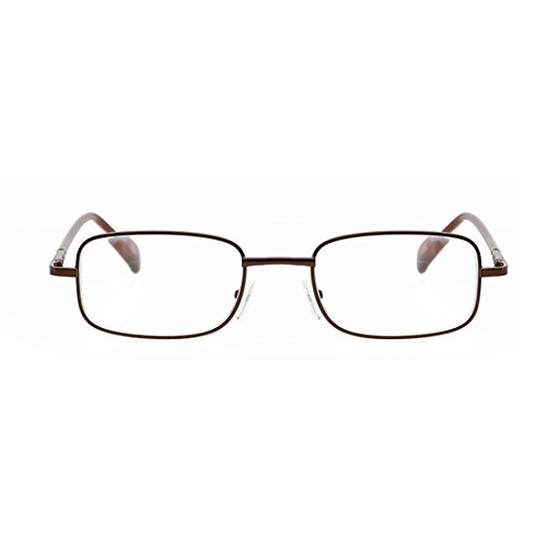 D.king Older Men Women Rectangular Reading Glasses Metal Frames Eyeglass Parents Tea 4.0X