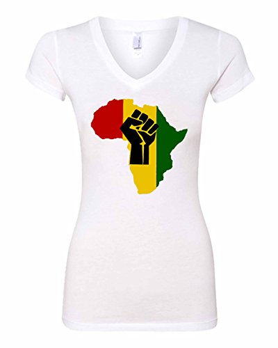 Kosmic Tees Women's African Continent Map Of Africa Rasta Funny V-Neck T-Shirt (x-large, White) (Africa Map T-shirt)