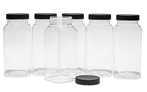 CLEAR PLASTIC SQUARE BAIRE BOTTLES - 16 oz Refillable Containers, 6-PACK - Black Lids - ORGANIZE YOUR KITCHEN, CRAFT ROOM, GARAGE or CREATE WEDDING / PARTY FAVORS - BONUS One 2 oz Matching Bottle - Clear Square Bottle