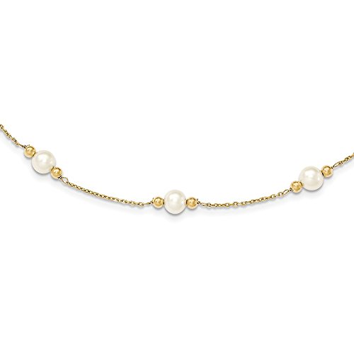 14K 5-6mm White Near Round FW Cultured Pearl Bead 5-station Bracelet, Length: 7.5 in, 14 kt Yellow Gold
