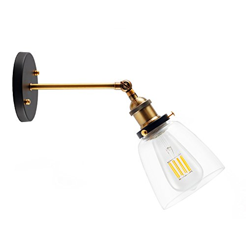 CRLight Industrial Vintage Fashion Wall Sconce, 180 Degree Adjustable, Antique Brass Finish Socket 1 Light Fixture with Clear Glass Shade Chandeliers Wall lamp, Metal Canopy Kit (Bulb Not Included) (Antique Brass Bathroom Light Fixtures)