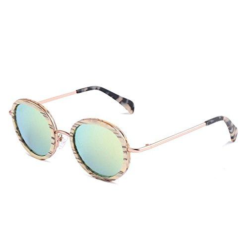 protección Metal polarizadas de Playa Hecho Retro Madera Gafas Gafas UV Redondo pequeño Gafas Mano y Aire Libre Sol Pesca Sol Estilo al de conducción TAC de de Lente Aclth Amarillo esq Exquisito a de 4UwqgZXqzn